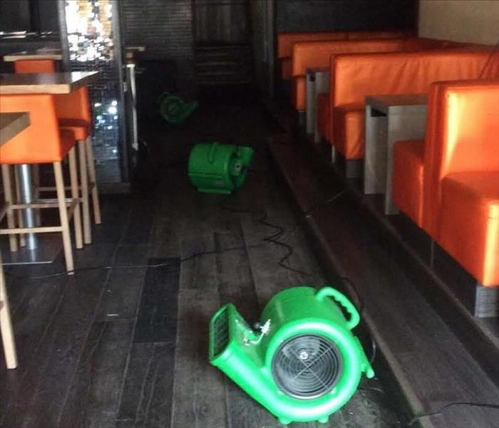 Pipe break in restaurant ceiling